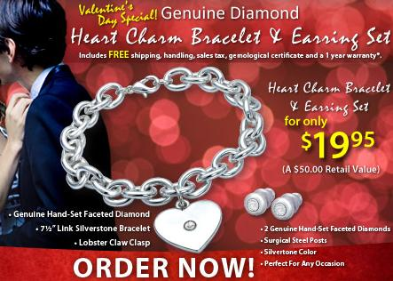 Valentines Day Heart Charm and Earring Set Special
